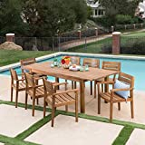 Great Deal Furniture William Outdoor 9 Piece Teak Finished Acacia Wood Dining Set with Expandable Dining Table