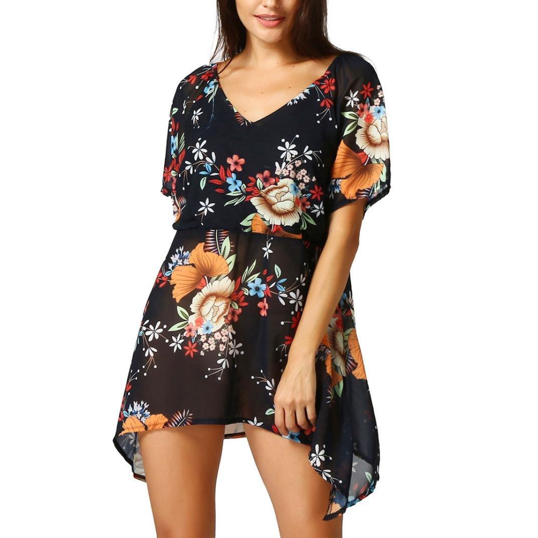 Damenkleider Sommer, Dasongff Frauen Chiffon Sommerkleider Blumenmuster Kurzarm Lose Bluse Tops Strandkleid Asymmetrische T-Shirt V-Ausschnitt Kurze Kleid Minikleider