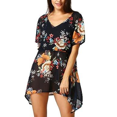 Dasongff Frauen Chiffon Sommerkleider Blumenmuster Kurzarm Lose Bluse Tops Strandkleid Asymmetrische T-Shirt V-Ausschnitt Kurze Kleid Minikleider Damenkleider Sommer Komposte