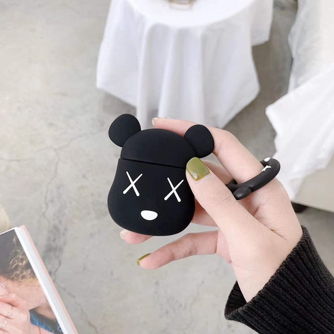 Mulafnxal Compatible with Airpods 1/&2 Case,Cute Funny Cartoon Character Silicone Airpod Cover,Kawaii Fun Cool Design Skin,Fashion Animal Bear Cases for Girls Kids Teens Boys Air pods Black Gloomy