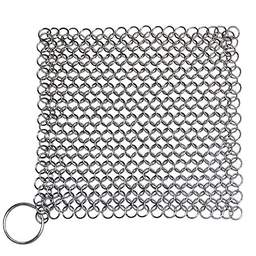 (Blisstime Cast Iron Cleaner Premium Stainless Steel Chainmail Scrubber (15))