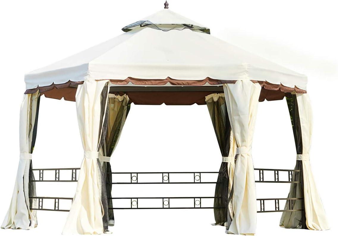 MELLCOM 12FT Outdoor Gazebo Canopy, Aluminum Frame Soft Top Hexagonal Outdoor Patio Gazebo with Polyester Curtains and Air Venting Screens Cream