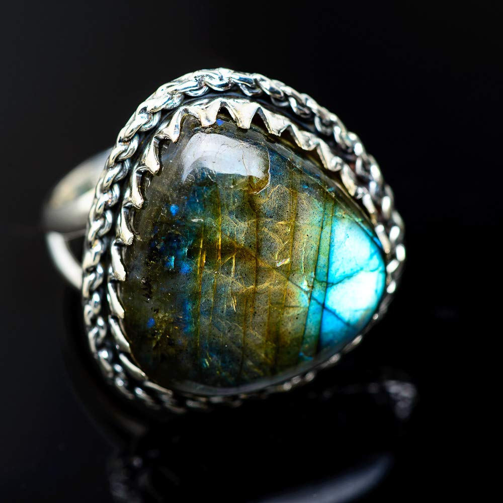 Bohemian Ana Silver Co Large Labradorite Ring Size 9.25 925 Sterling Silver Vintage RING948200 - Handmade Jewelry