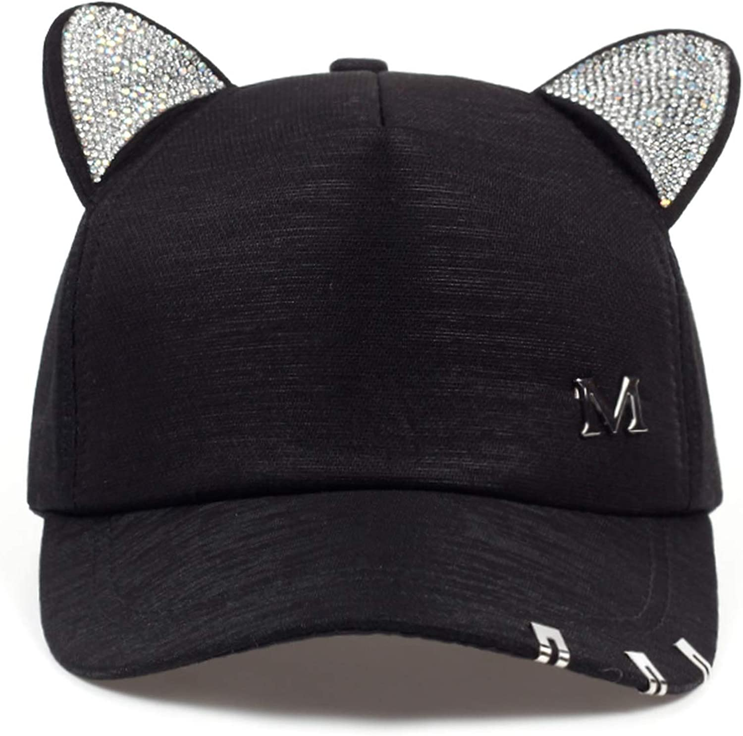 New Meow Womens Summer Fall Black White Pink hat Cat Ears Cat Baseball Cap with Rings and lace Cute Girl hat