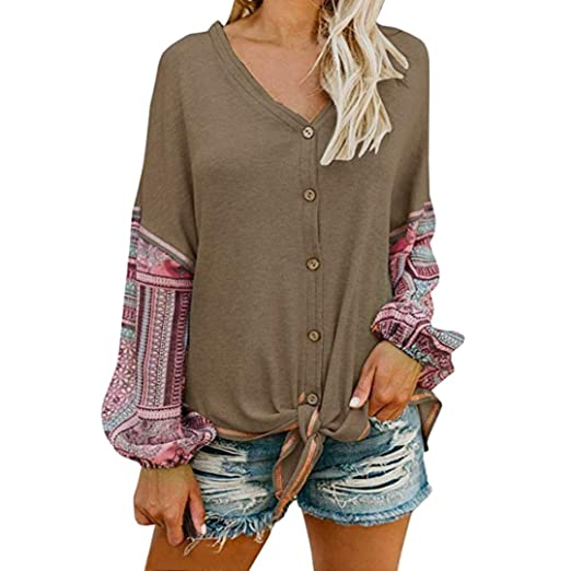 91b60e6a3d Image Unavailable. Image not available for. Color  URIBAKE Womens V Neck  Tie Knot Front Henley Shirt Button up Patchwork Cardigan Blouse