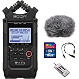 Zoom H4n Pro All Black 4-Track Portable Recorder (2020 Model) with Windscreen, Mic Attenuator Cable, 16GB Memory Card…