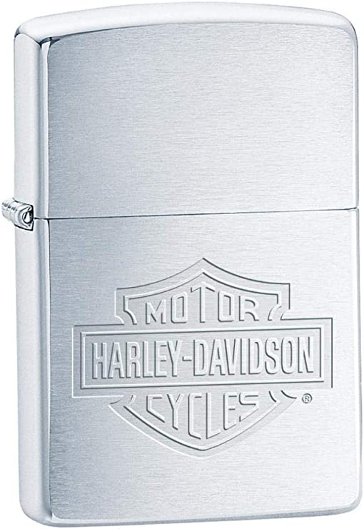 Zippo Harley-Davidson Engraved Logo Lighter 1/2 - Mechero, Color Cromo Cepillado