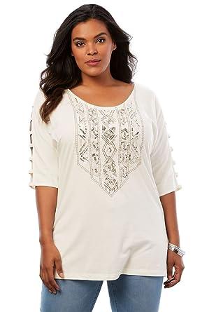 3da9fc5826e Roamans Women's Plus Size Embellished Lattice Sleeve Top - Ivory  Embellishments, ...