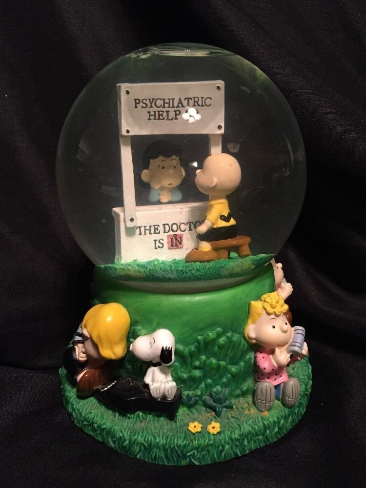 The Doctor Is In - Peanuts Snoopy Musical Mood Booth Snowglobe - Lucy & Charlie Brown