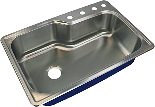 Transolid Mtso33229 4 Meridian 4 Hole Drop In Single Bowl 16 Gauge Stainless Steel Kitchen Sink 33 In X 22 In X 9 In Brushed Finish