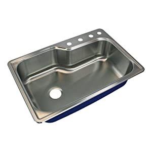 Transolid MTSO33229-4 Meridian 4-Hole Drop-in Single Bowl 16-Gauge Stainless Steel Kitchen Sink 33-in x 22-in x 9-in Brushed Finish