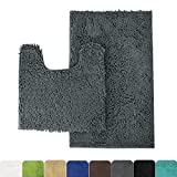 MAYSHINE Bathroom rugs toilet sets and Shaggy Non slip Machine washable Soft Microfiber bath Contour mat (Dark Gray 32'' 20''/20'' 20'' U-Shaped)