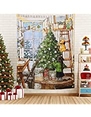 LOMOHOO Christmas Tapestry Wall Hanging Fireplace Xmas Tree Winter Snowflake Stockings Gifts Wall Tapestry for Party Living Room Bedroom Dorm Home Decor