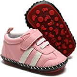 HsdsBebe Baby Boys Girls Pu Leather Hard Bottom Walking Sneakers Toddler Rubber Sole First Walkers Infant Cartoon…