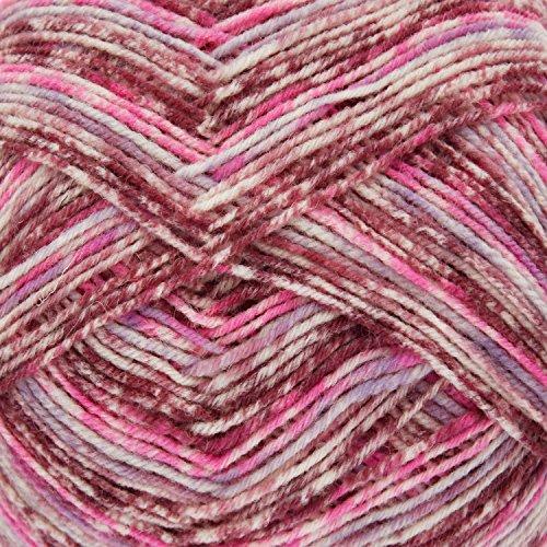 King Cole Zig Zag 4 Ply Superwash Knitting Wool & Nylon 100g Ball Sock Yarn (Wild Orchid - 3164)