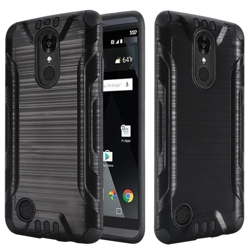 LG Aristo Case Slim Fit Brushed Shockproof Hybrid Protector Cover Heavy Duty