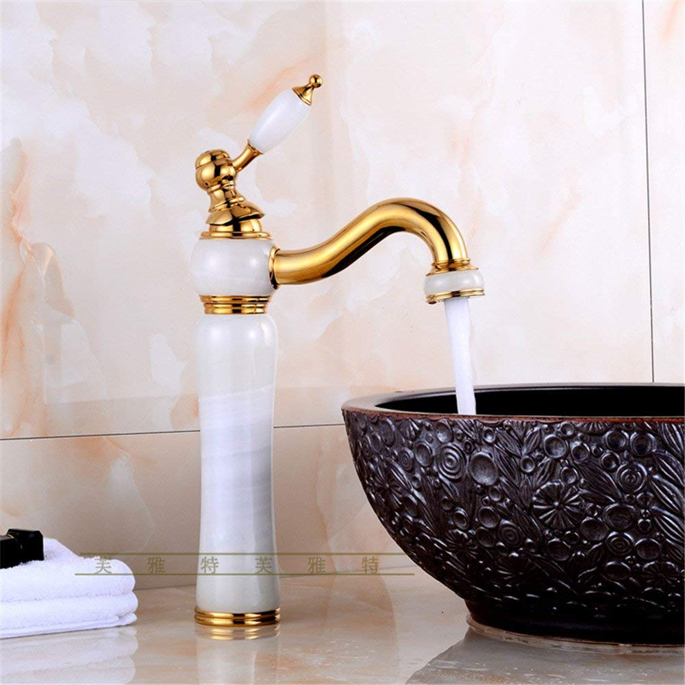 10 Oudan Basin Mixer Tap Bathroom Sink Faucet The high-continental basin of hot and cold jade faucet, Huang Yu-LUXURY (color   1)