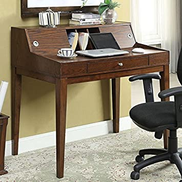 Desks- Workstation & Writing Desks Transitional - Deerling Rustic Cherry Storage Desk - Assembly Required IDF-DK