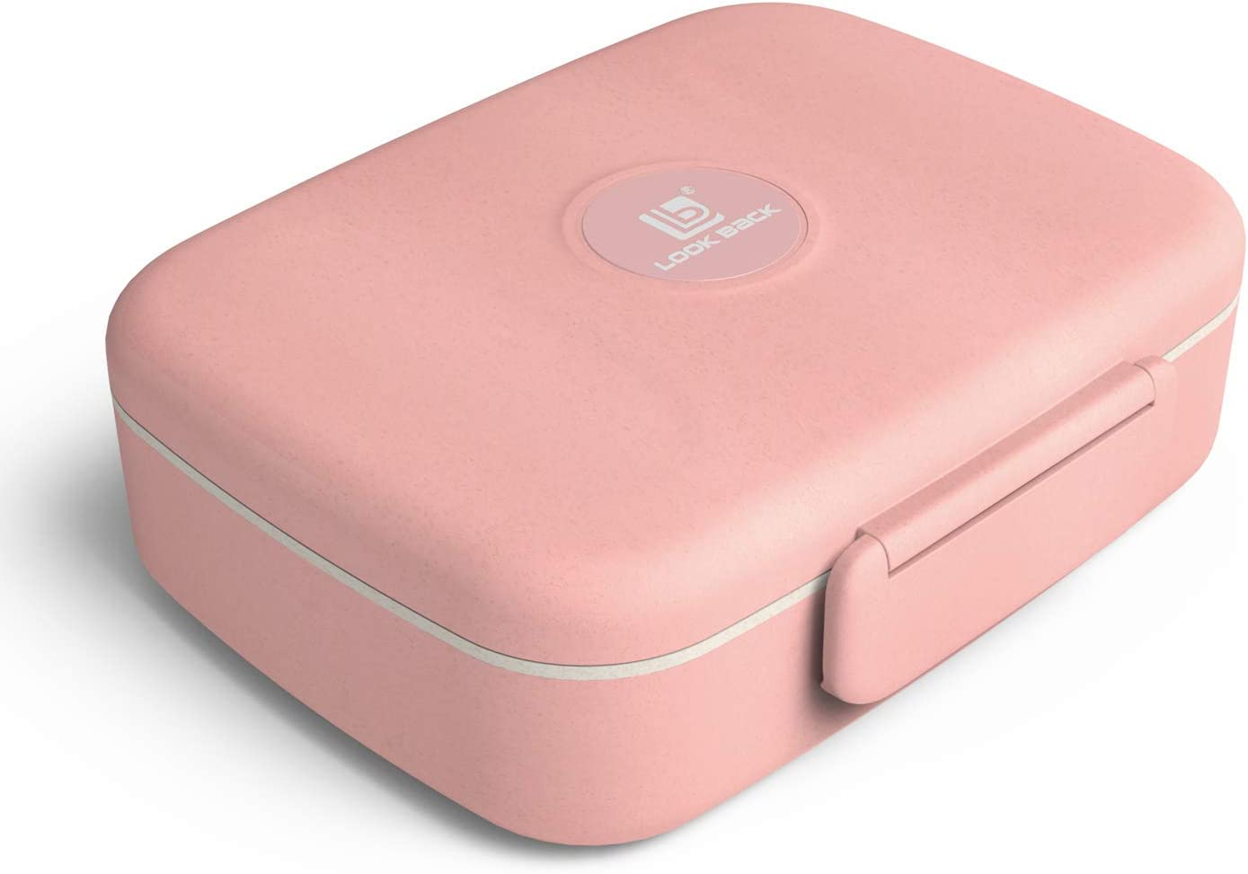 Lunch Box for Kids and Adults Wheat Straw Food Storage - 5 Compartments, Leak Proof, Microwave and Dishwasher Safe, BPA-Free, Bento Box, Lunch Container with Spoon and Fork (Pink)