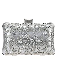 Fawziya Crystal Flower Hollowed-out Metal For Women Purses And Handbags