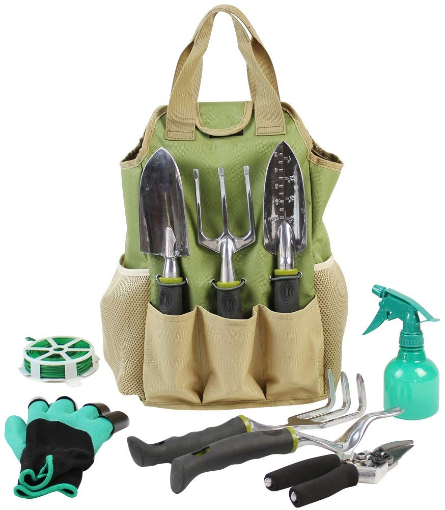 INNO STAGE Gardening Tools Set Organizer Tote Bag 10 Piece Garden Tools,Best Garden Gift Set,Vegetable Gardening Hand Tools Kit Bag Garden Digging Claw Gardening Gloves