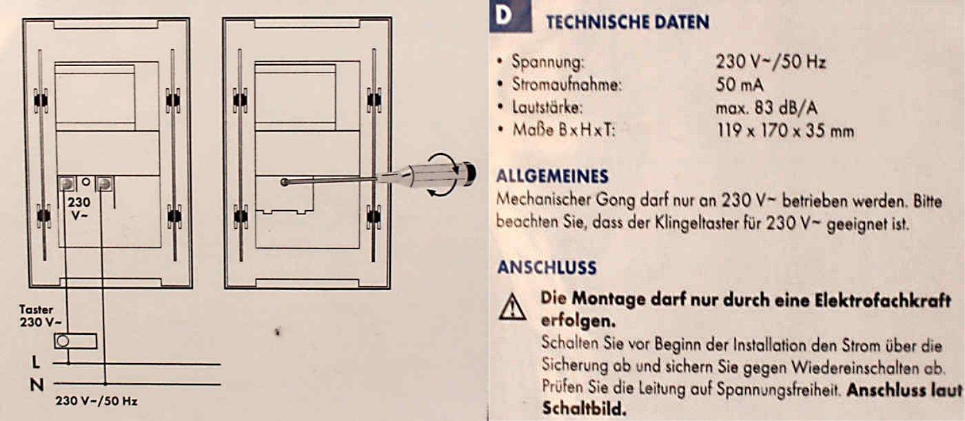 TÜRKLINGEL TÜRGONG 230V Betrieb 83dB DÜWI 25074 Chrom-Kugel-Decor ...