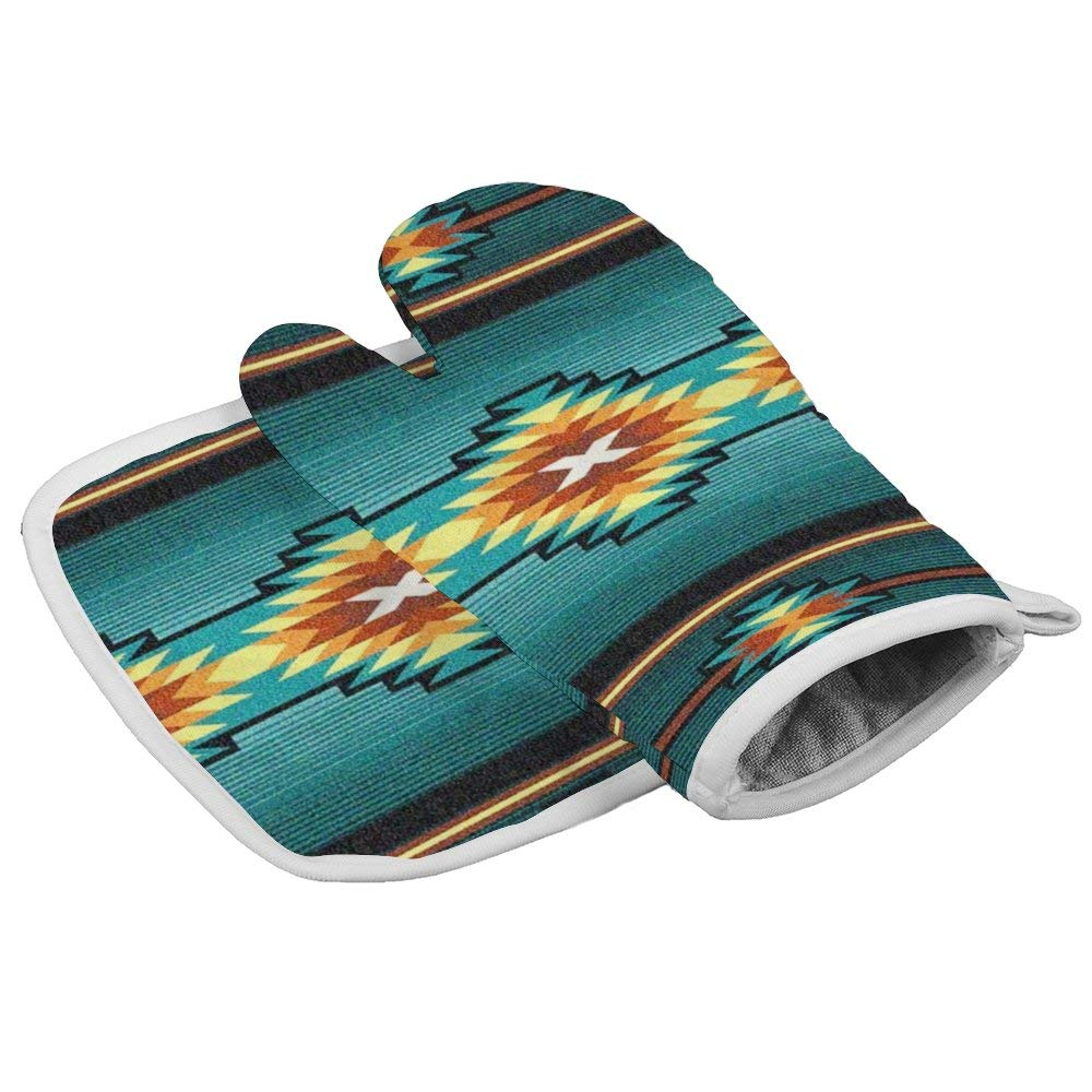 Thewar Native Southwest Geometric Turquoise Unisex Heat Resistant Polyester Insulation Gloves Oven Mitts and Pot Holder(2-Piece Sets)