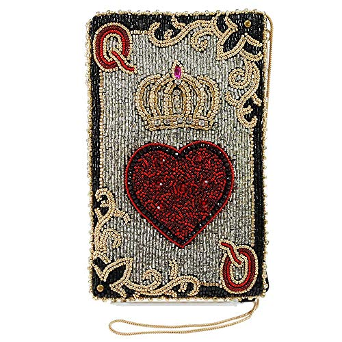- Mary Frances Queen of Hearts Beaded Playing Card Crossbody Phone Bag, Silver