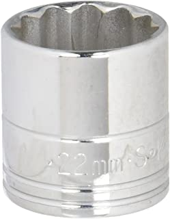product image for SK Professional Tools 2322 3/8 in. Drive 12-Point Metric Standard Chrome Socket - 22mm, Cold Forged Steel Socket with SuperKrome Finish, Made in USA