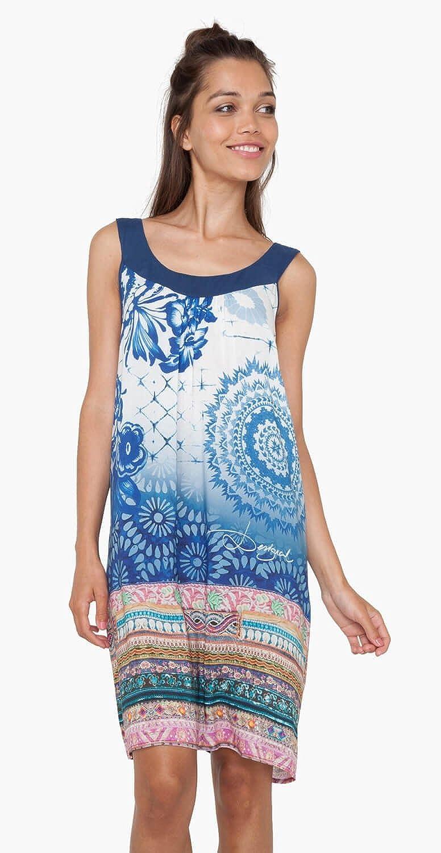 Desigual Damen Skater Kleid blau blau / weiß