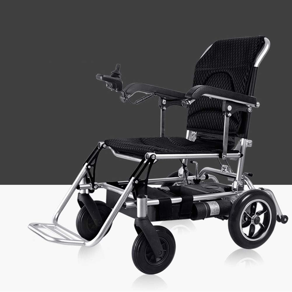 Wheelchair Ligero Plegable Llevar Eléctrico Sillas De Ruedas, 360 ° Frente Rueda Girar Cómodo Respirable Amortiguar Aviación Viajar Seguro Fácil Funcionar Transporte(Controlador del Lado Derecho)