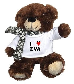 Oso marrón de peluche con Amo Eva en la camiseta