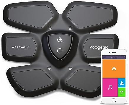 Koogeek Aparato Abdominal Training Gear Inteligente Estimulación Muscular Quema de Grasa para Abdomen Fitness Gear con Carga Pad Inalambrica App ...