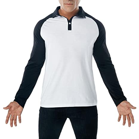 Amazon.com: Easytoy Mens Casual Button V Neck Collar Classic Fit Patchwork Long Sleeve Polo T Shirts: Sports & Outdoors