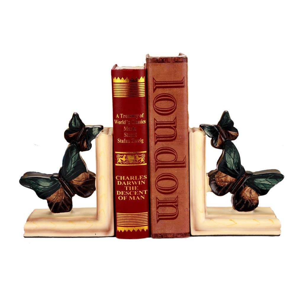 Xilin-shop Bookends Nonskid Vintage Decoration Bookends Pair Resin Butterfly Figurine Decoration 6 Inches Art Bookend by Xilin-shop