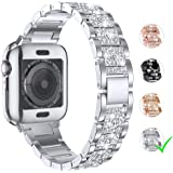 LELONG for Apple Watch Band 38mm 40mm 42mm 44mm Series 5 Series 4 3 2 1 with Case, Bling Bracelet iWatch Band, Diamond Rhinestone Stainless Steel Metal Wristband Strap