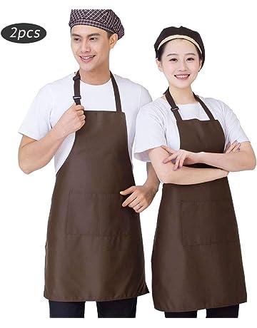 SERWOO 2 Piezas Delantales Cocina Chef Ajustables Cocinero con Bolsillo para Mujeres Hombres Unisexo