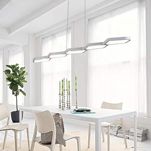 Lámpara alargada de 50W LED Lámpara de mesa de comedor Luz colgante Moderno diseño geométrico Altura ajustable Aluminio blanco Iluminación colgante de luz Oficina (115 * 18cm, 6000K): Amazon.es: Iluminación