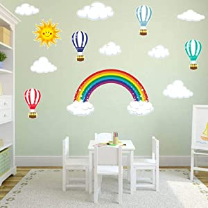 Rainbow,Hot Air Balloons,Sun and Clouds Kids Wall Stickers Peel and Stick Removable Wall Decals for Kids Nursery Bedroom Living Room