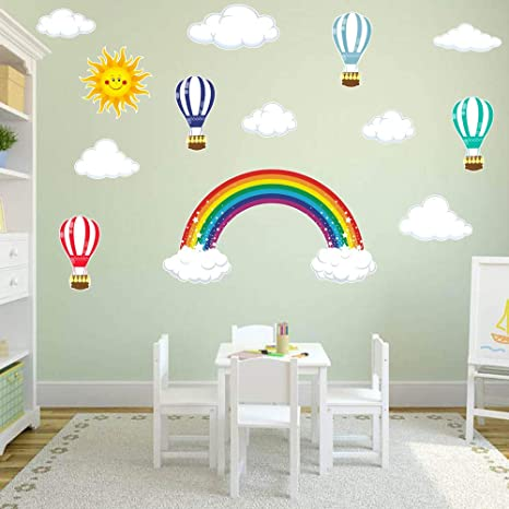 Colorful Hot Air Balloons Printed Wall Decal  Kids Room Nursery  Removable Wall Art  Wall Decor  Wall Sticker  Vinyl Wall Decal