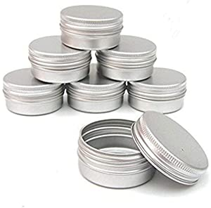 Healthcom 12 Pack 1 Oz/30ml Round Aluminum Tin Cans Screw Top Metal Lid Tins Makeup Cream Lip Balm Jars Empty Cosmetic Storage Sample Container Boxes Organization Kit for Lip Balm Salve Crafts Spice Candles Tea Gifts,Silver