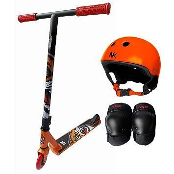 Patinete Scooter Tigre Nocaik 2015 de aluminio con Casco naranja y protecciones tallas M