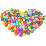 """EocuSun Pack of 50 Pcs 2.5"""" Colorful Phthalate Free PBA Free Crush Proof Plastic Ball Pit Balls for Kids, 8 Bright Colors in Reusable Mesh Storage Bag"""