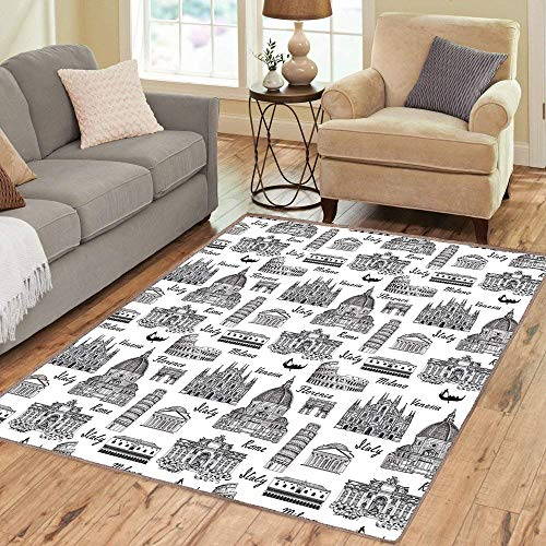 Rug,Floor Mat Rug,City,Area Rug,Monochrome Sketch Style Famous Places from Italy Rome Milano European Architecture,Home mat,6'x7'Black White,Rubber Non Slip,Indoor/Front Door/Kitchen and Living Room/B