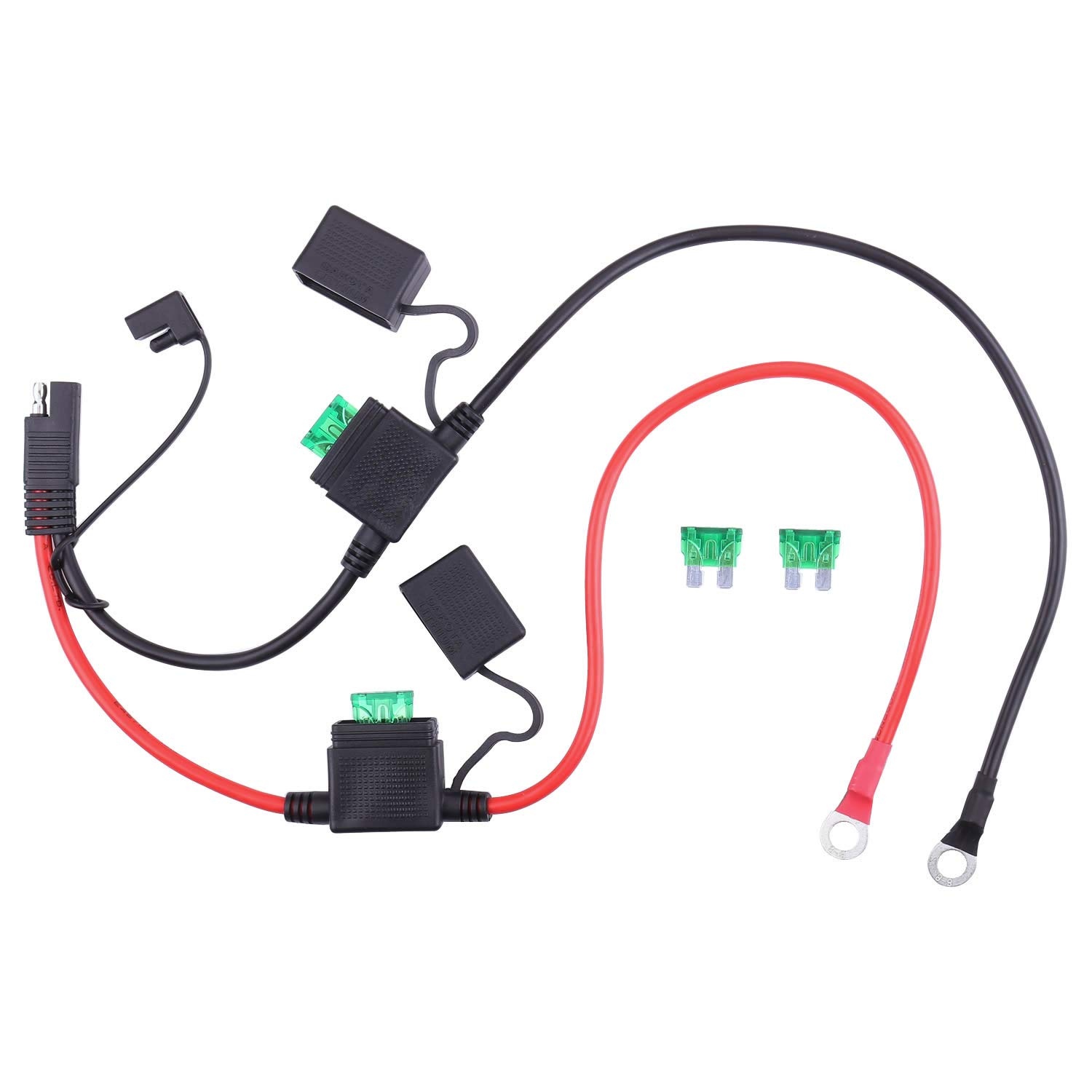 Ring Terminal To SAE Quick Disconnect Extension Cable 2ft for Car Motorcycle