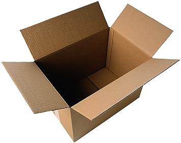 Pack de 20 cajas de cartón grande. Simple 52 x 35 x 31 cm. Marrón.