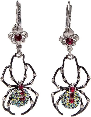 Retro Women Elegant Fashion Earrings Drop Dangle Big Red Crystal Silver Spider