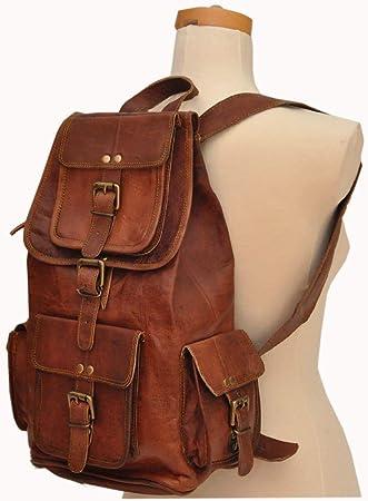 182022 inches Genuine Real Leather Vintage Laptop Backpack School Book bag men women Unisex Brown  handbag Goat Leather Retro  Rucksack