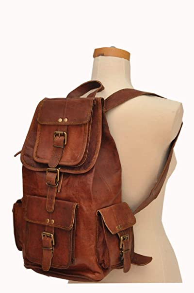 "HLC 20"" Genuine Leather Retro Rucksack Backpack Brown Leather Bag Travel Backpack"