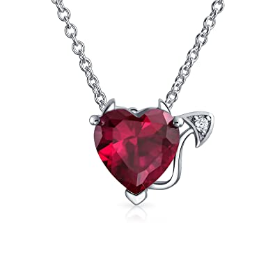 62fa60a7dfd6 Image Unavailable. Image not available for. Color  Valentine Red CZ Devil  Heart Shape Cubic Zirconia Pendant Necklace For Women 925 Sterling Silver 16